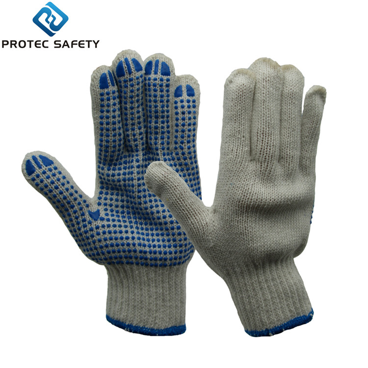 7G bleached white string knitted cotton <strong>gloves</strong> with one side blue PVC dotted