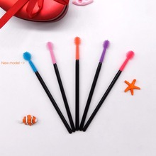 Disposable Silicone Eyelash Mascara Wands spoolie Brush , disposable makeup brush, one-off makeup tool custom packaging