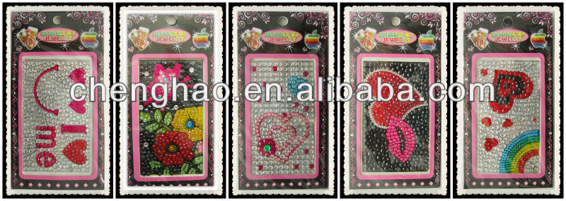 Cartoon diy cell phone decals iphone rhinestone sticker
