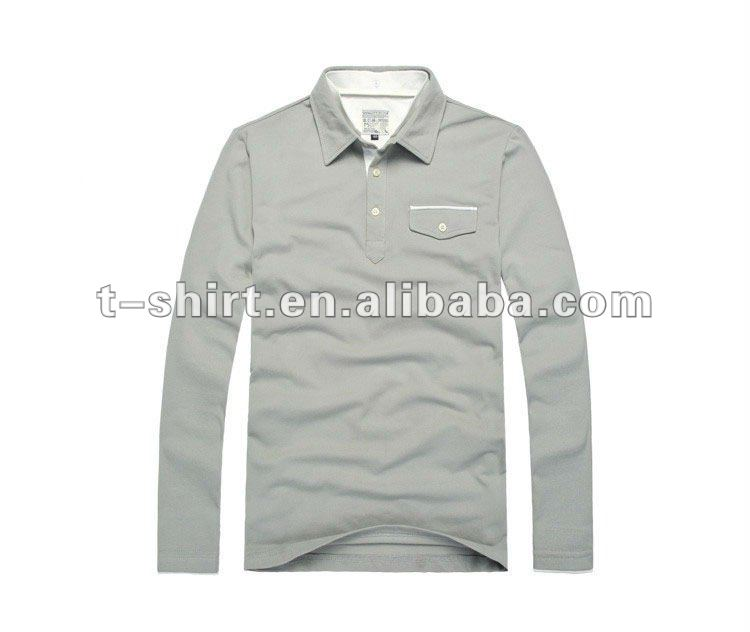Cotton Gray Long Sleeves Polo Shirt