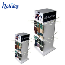 Accept Custom Design Rotating Cardboard Hook Display Stand 3 Side Hanging Display Stand