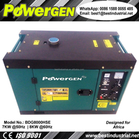 New design!!! POWERGEN 220V 50Hz Single Phase Silent Enclosure Type Diesel Engine Portable Generator 7KW for South Africa