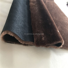 Bonded fabric with faux rabbit fur and suede for garment