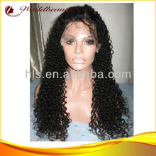 "Top Quality Chinese Virgin Hair 26"" Natural Color Kinky Curly Full Lace Wigs"