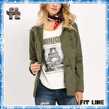Women Clothing army military Green hooded Jackets Plain Women Fashion adjustive waist Long Sleeve Zip Up windproof coat top