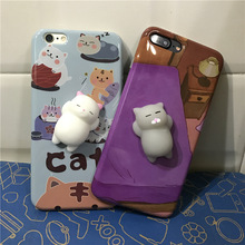 Cute Squishy cat Decompression Mobile Phone Case 3D Soft Silicon Cartoon phone case