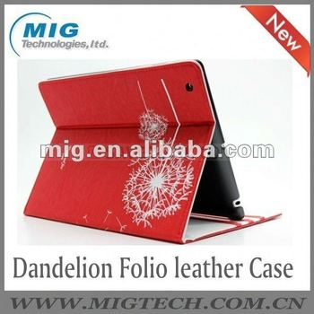 Dandelion Folio PU leather case for ipad ,for ipad 3 case