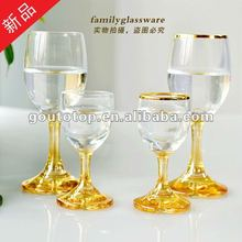 wine glass goblet/sprayed golden color decoration/lovely design/Red Wine Glass,Goblets In Wine Glasses,Drinking Glass