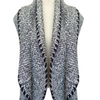 Cashmere Like Sleeveless Ladies Cardigan Black
