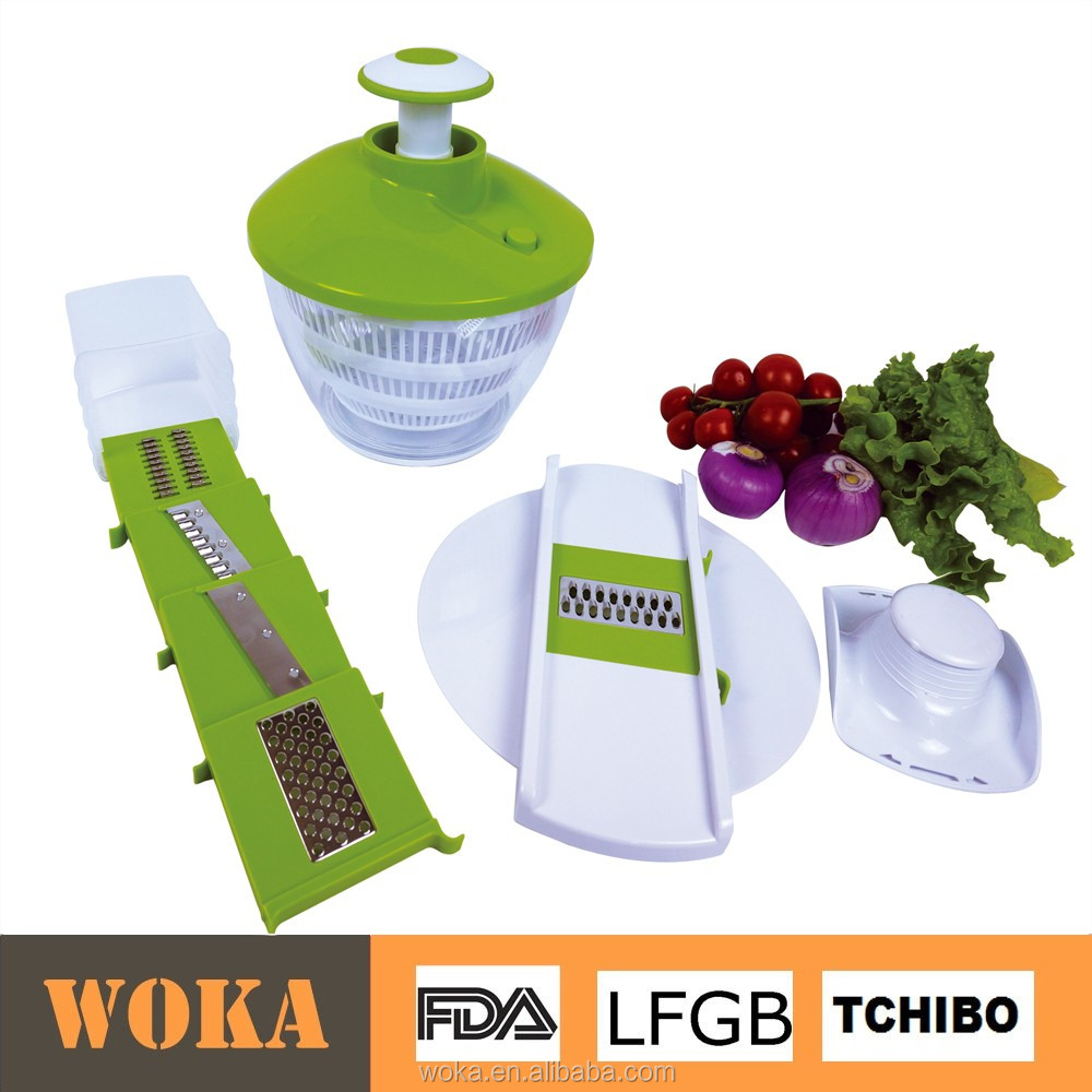 Vegetable slicer and chopper with salad spinner for home use salad maker