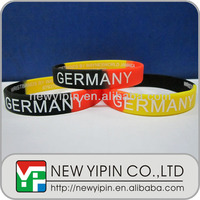 Direct factory Segmented colors silicone bracelet with Germany printing for 2014 Brazil world up soccer ball