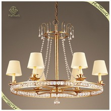 Hot sale indoor metal frame home lighting fabric shades crystal hanging pendant light