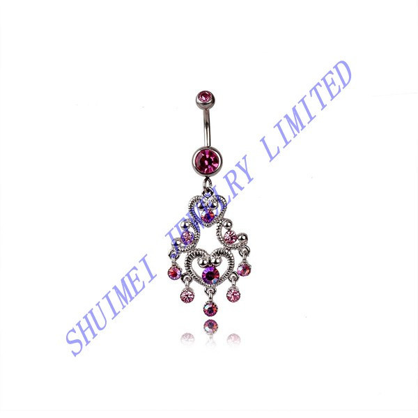 Heart Magenta Baroque Dangle CZ 316L Stainless Steel Belly Button Ring Navel Bar Piercing Body Jewelry Fashion 2015 New