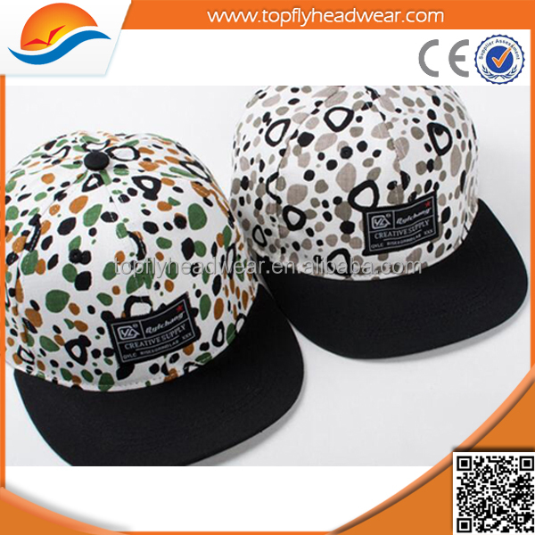 Wholesale 100% cotton print snapback cap custom with embroidery logo/design your own snapback caps hats