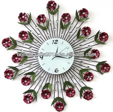 wholesale latest style flower round glass pendulum wall clock