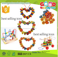 EN71 promotional discounts wooden beads toys OEM/ODM colorful educational handmade best selling toys 2015