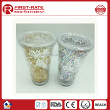 Creative double tumbler bottle with gold dust and led light