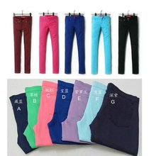2015 New Ladies cheap colored skinny jeans (DS120183)