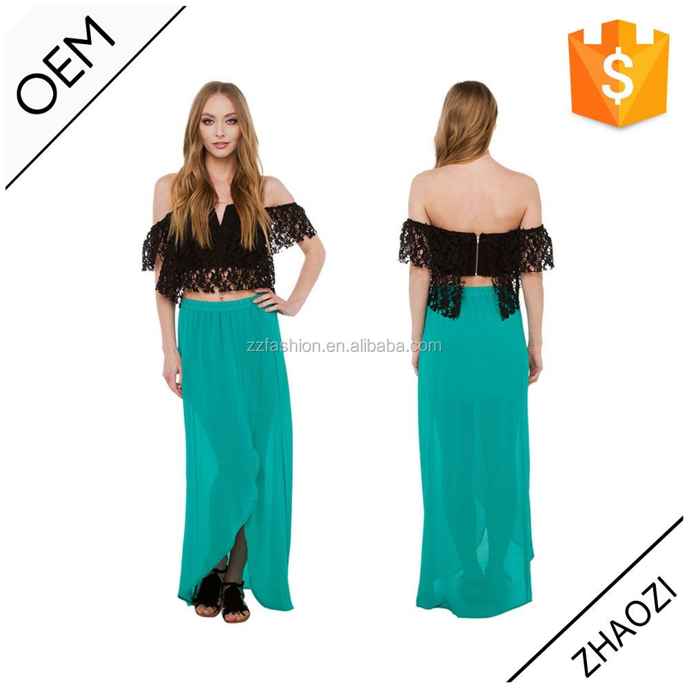 Tropical green chiffon maxi skirts china supplier latest design sexy long skirts for women