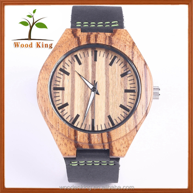 Black Strap Fashion Wooden Times Square Details Eclipse Quartz Watches
