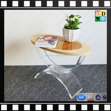 top quality acrylic coffee table with wood top high traqnsperant acrylic table base PMMA lucite plexiglass end table wholesale
