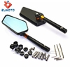 Black CNC Rearview Mirror With Smoke Blue Glass Motorcycle Side Rear View Mirrors Universal For 6MM 8MM 10MM