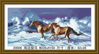 2015 newest design wild horses oli painting, crysta glass painting design 3d, chinese running horse painting