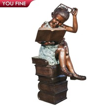 Lovely Decorative Sitting Bronze Reading Girl Sculpture with Teddy Bear