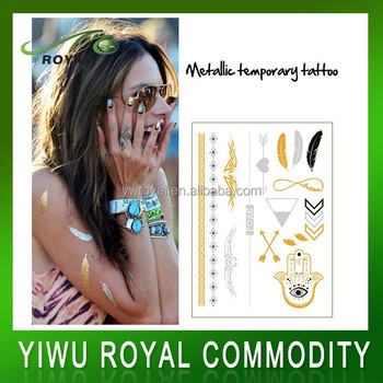 Body Jewelry Inspired Flash Foil Metallic Temporary Tattoo