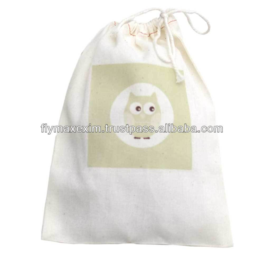 cotton drawstring muslin bags/ organic cotton muslin bags