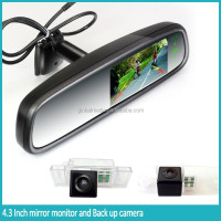 Manufacturing car parts 4.3 rearview mirror camera with buckup display monitor for any car
