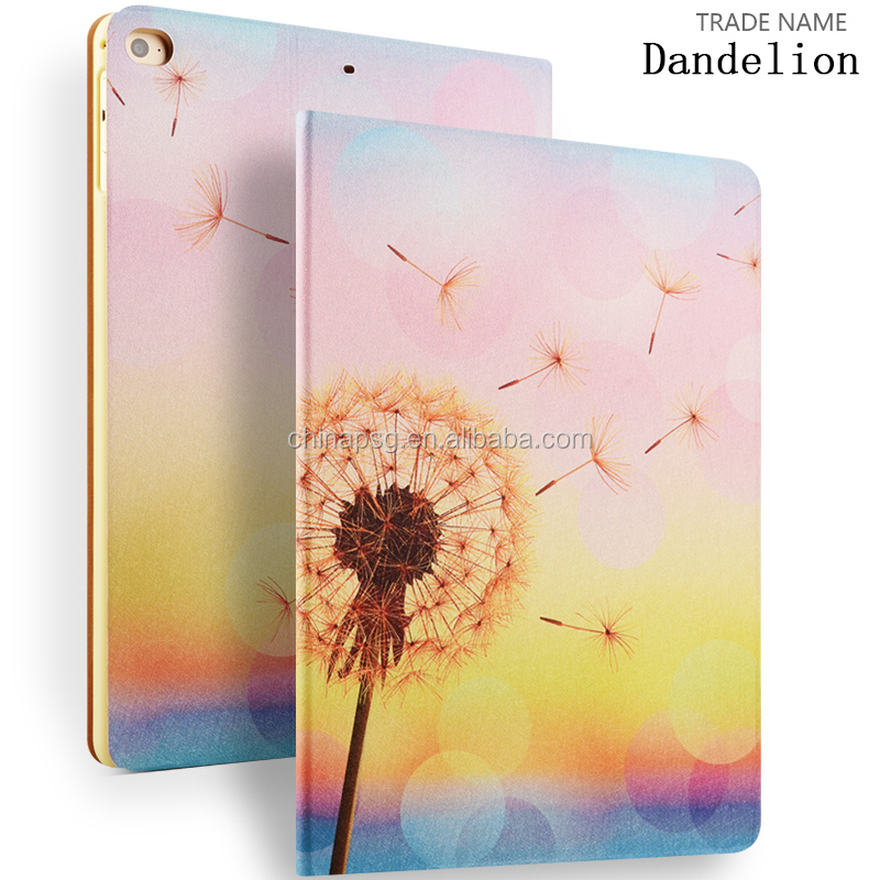 Color Printing Folio Stand PU Leather Case for iPad, Smart Flip Cover Case for iPad2 3 4 (Dandelion)