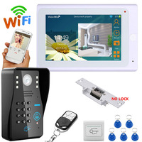 "2017 Newest 7"" TFT Wired / Wireless Wifi RFID Password Video Door Phone Doorbell Intercom System with Electric Strike Lock"