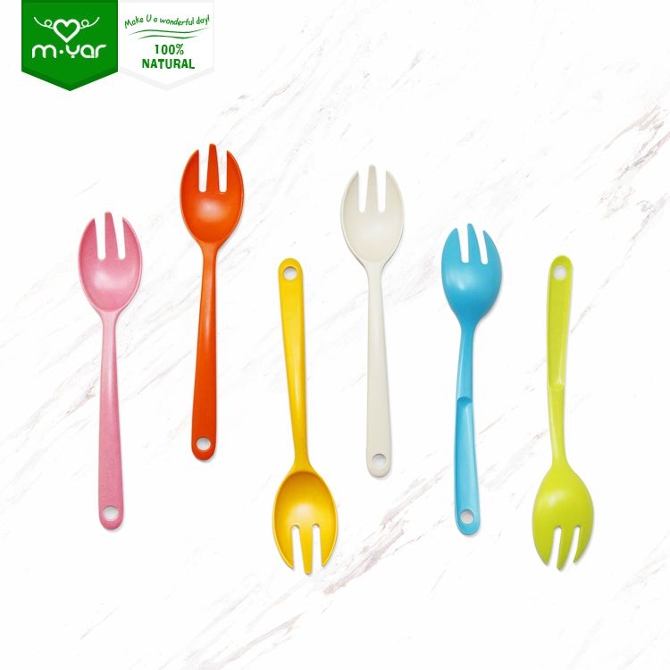 Eco-friendly Dinnerware Sets chocolate spoons for sale Baby Bamboo Colorful Fiber Spoon