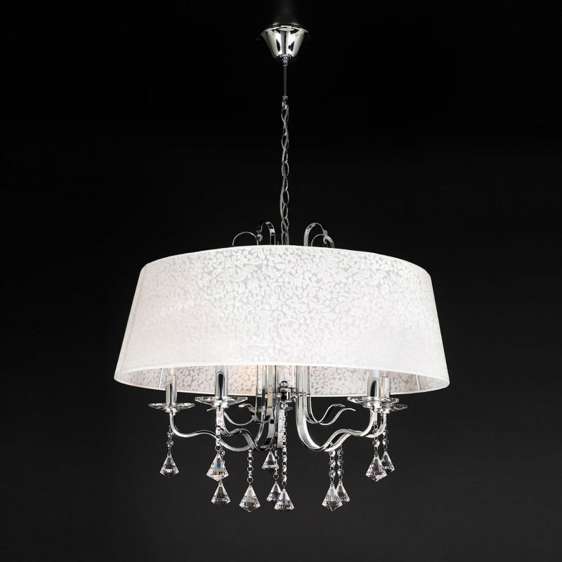 5 lights Modern crystal&fabric chandelier lamp