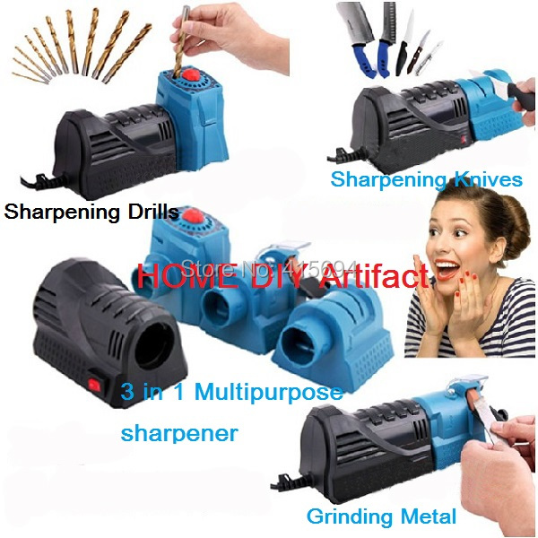 Home DIY Artifact! 3 IN 1 Multifunction Sharpener,Multipurpose sharpener, drill sharpener.