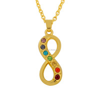 Golden Plating Colorful Rhinestone Infinity Symbol Pendant Necklace Jewelry