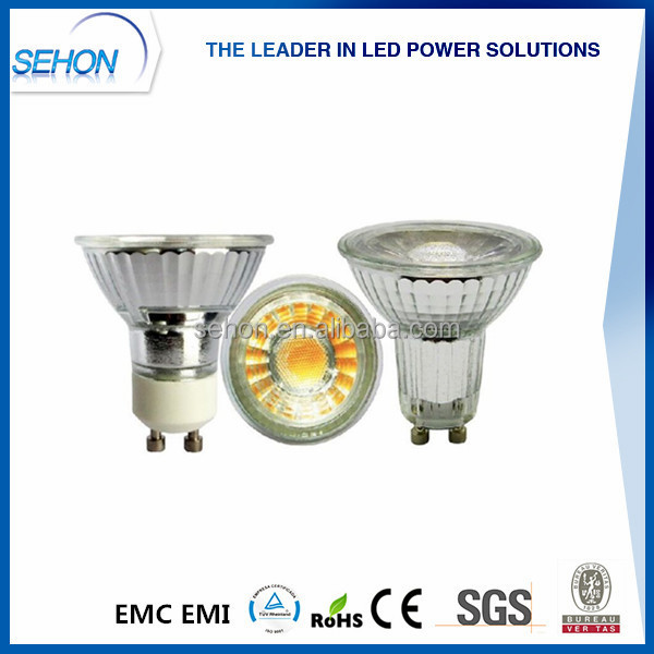 Sehon glass Lens COB 5W LED Spotlight MR16/G5.3/GU10/E27 cob glass led spotlight dimmable