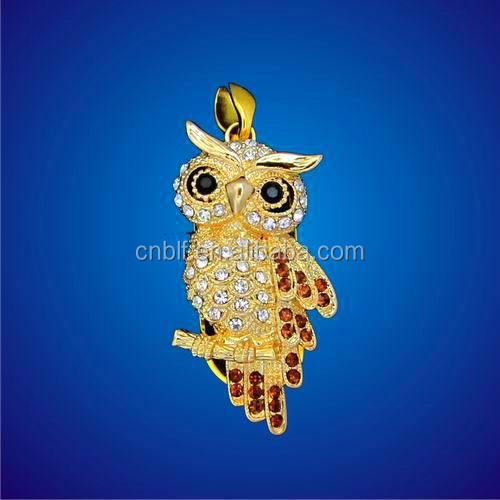 Owl crystal usb flash drive, jewelry usb momery 2.0