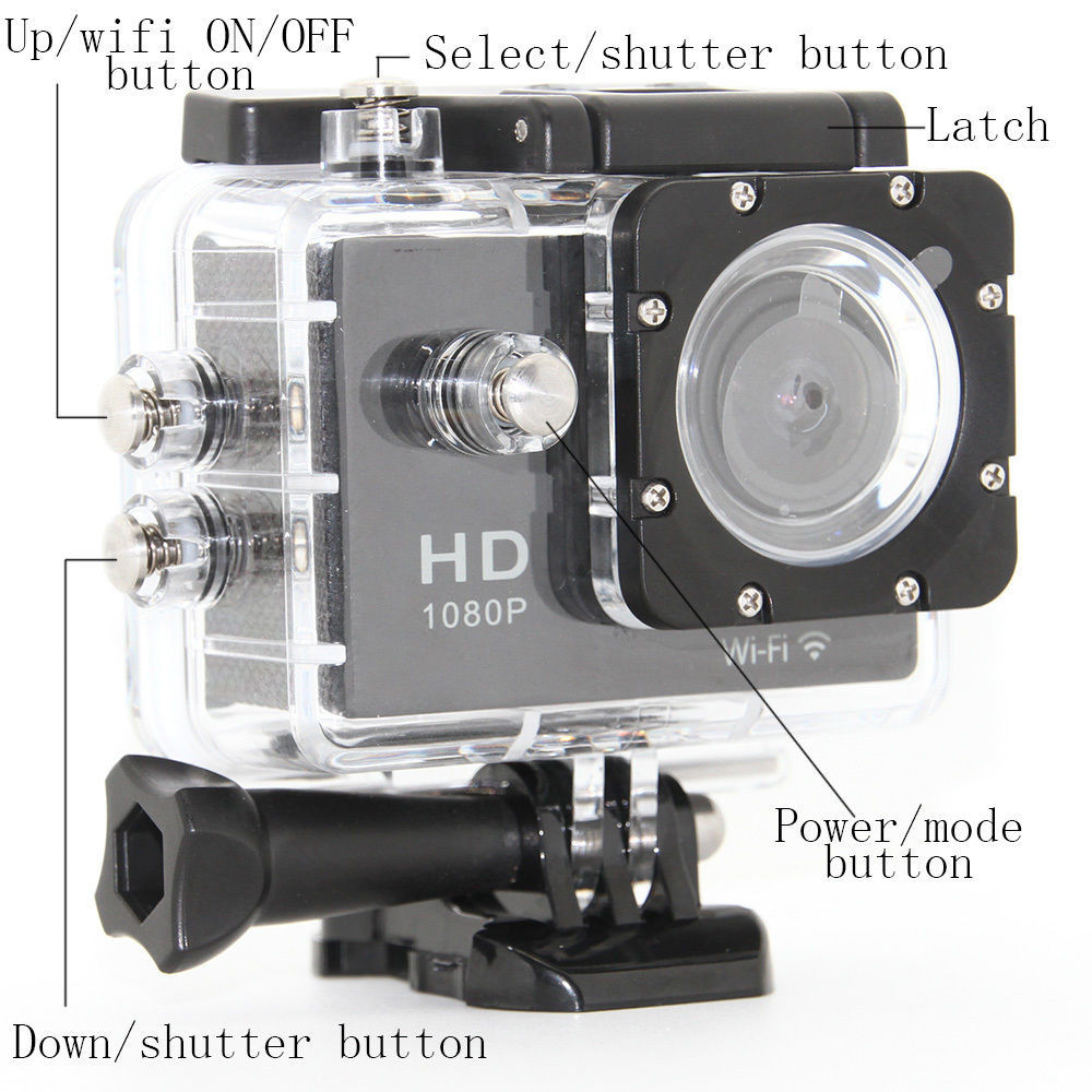 New brand 1080 pixels 30 fps (H.264) 1080P full hd waterproof digital camera