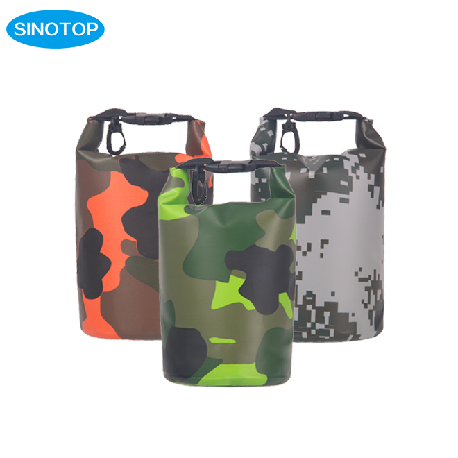 SINOTOP factory camping equipment 2L 3L camouflage tarpaulin waterproof dry bag beach floating bag made in China