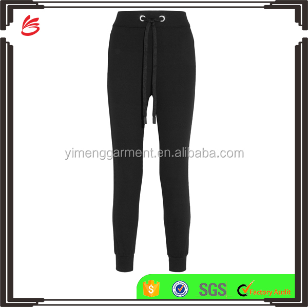 High Quality Customed Design Plain Black Track Pants Women with Wide Drawstring