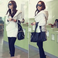 Lady cheap long sleeve winter thicken warm white coat 19095