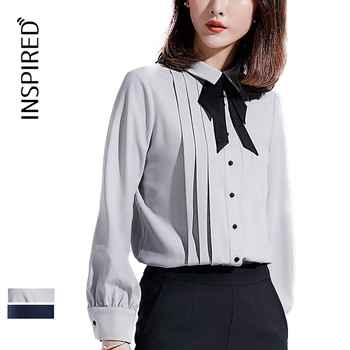 Women's pleated single breasted bow simple shirt business blouse