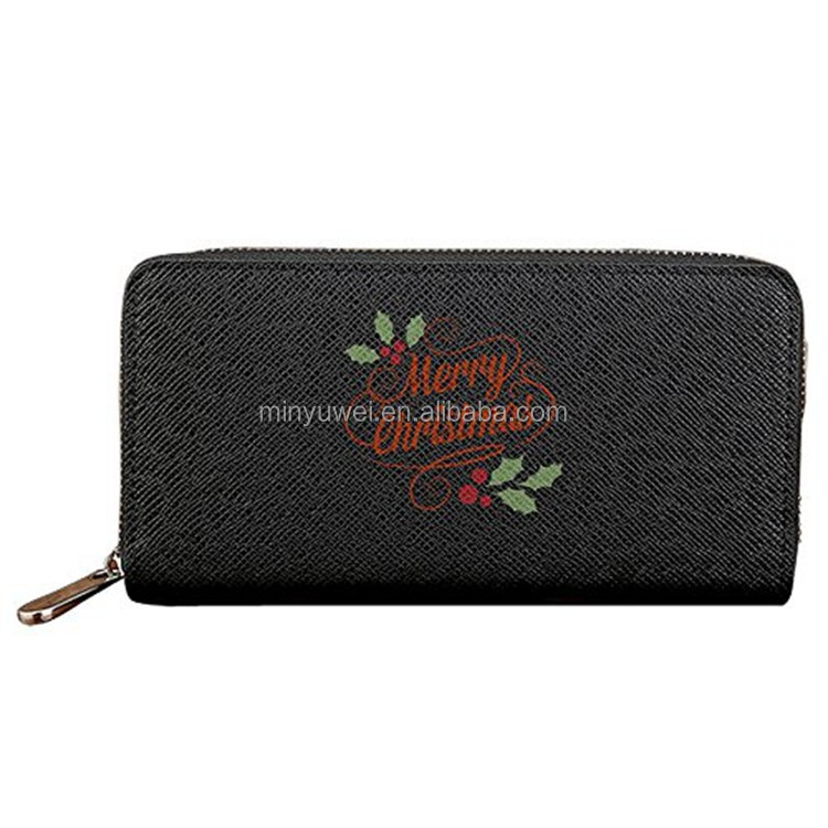 Saffiano leather zipper wallet with Merry Christmas text digital printing Long And Exclusive Wallet gift for Christmas