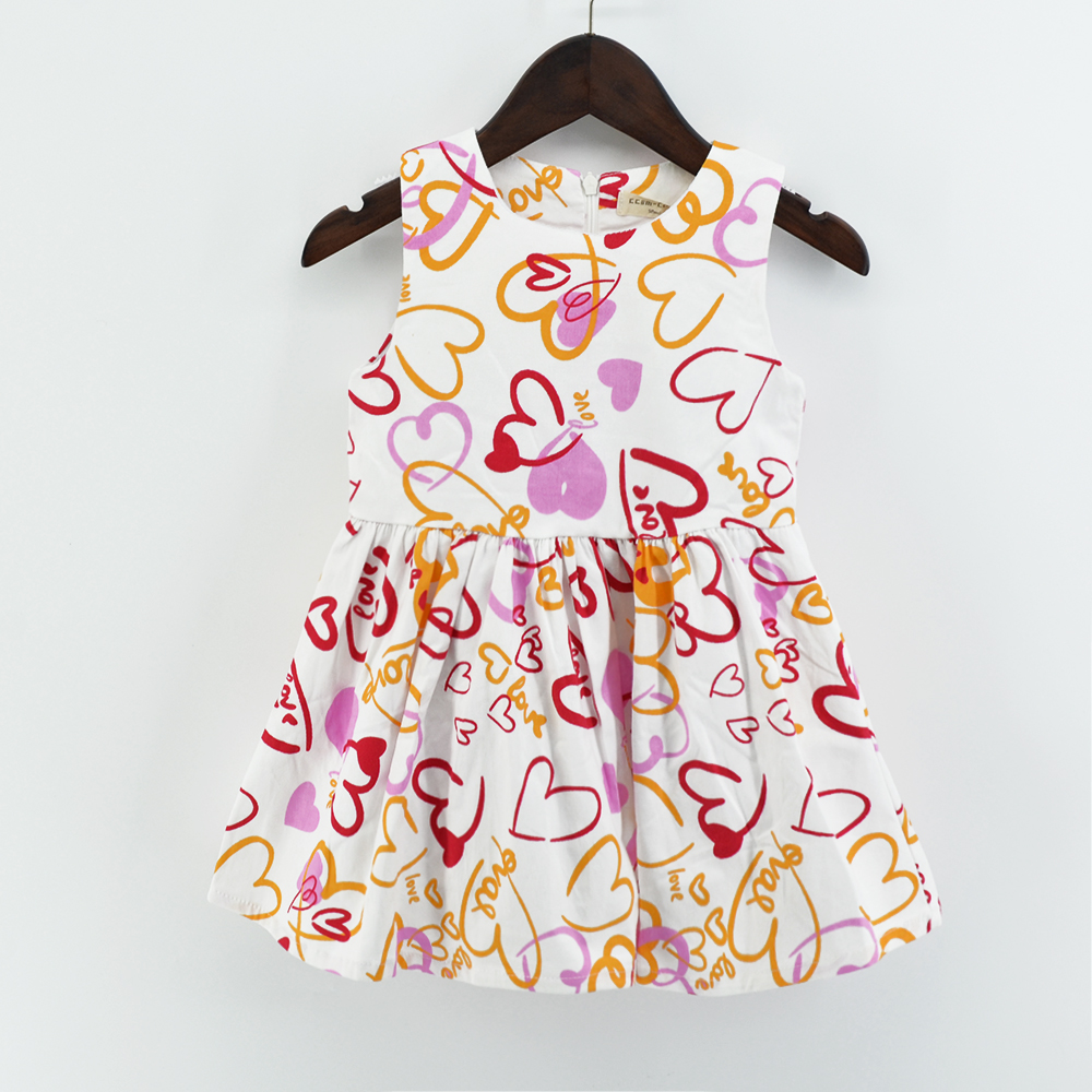 high quality lovely design flower printing kids girl dresses apparel