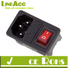 LinkaccJ-3C IEC 320 C14 Red Light Rocker Switch Fuse Inlet Male Connector Plug
