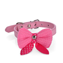 Fashion Leather Western Dog Collars with Bow Tie