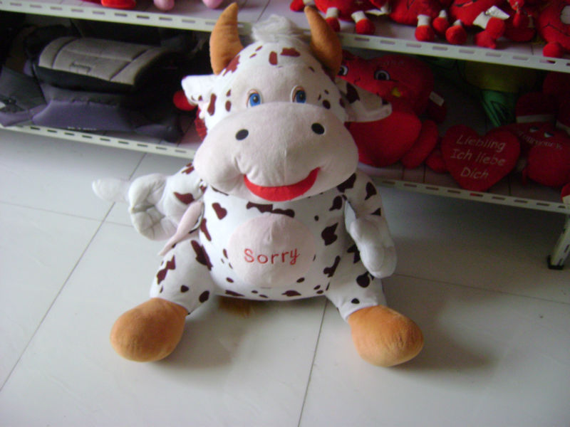 30cm promotional customized stuffed plush sitting dairy cattle(cow) farm animal toy with embroidered letters on belly