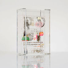 Custom transparent earring jewelry display stands acrylic makeup organizer